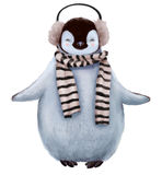 Cute penguin with scarf. Cute little penguin with scarf isolated on white Royalty Free Stock Image