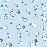 Cute penguin seamless pattern. Cartoon  illustration Royalty Free Stock Image