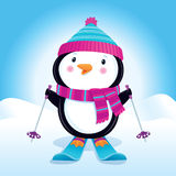 Cute Penguin On Skis. Cartoon illustration of a cute penguin on skis, wearing a knit cap and striped scarf with snowy hills and mounds in the background Royalty Free Stock Images