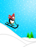 Cute Penguin on Sled Downhill Illustration Stock Photography