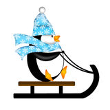 Cute Penguin on Sled Illustration Royalty Free Stock Photos
