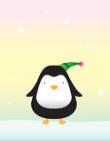 Cute Penguin on Snow. Illustration of a cute penguin standing on snow, with glowing stars in the colorful winter sky stock illustration