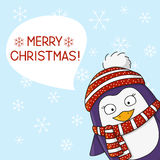 Cute penguin on snow background Stock Photo