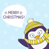 Cute penguin on snow background Royalty Free Stock Photography