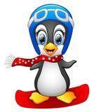 Cute Penguin Snowboarding Royalty Free Stock Image