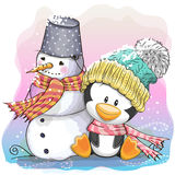 Cute Penguin and snowman Royalty Free Stock Photos