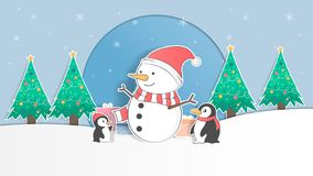 Cute penguin and snowman pastel christmas background and greeting card. cartoon and paper art design. vector, ilustration stock illustration