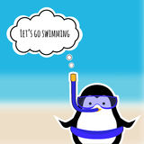 Cute penguin sticker on blurred background sea. EPS 10. Card with cute penguin sticker on blurred background sea Royalty Free Stock Images