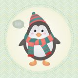Cute Penguin in Textured Frame design illustration. Vector Cute Penguin greeting card in Textured Frame design illustration, retro vintage cartoon Royalty Free Stock Photography
