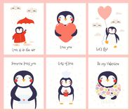 Cute penguin Valentines day cards set royalty free illustration