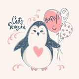 Cute penguin. Vector print design for kid t-shirts,dress or greeting cards. Cute penguin. Vector print design for kid t-shirts,dress or greeting cards Stock Images