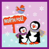 Cute Penguins. Heading to North Pole Royalty Free Stock Image