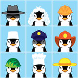 Cute Penguins of Different Professions. Vector Illustration of Happy Penguins Faces. Funny Avatars of Different Professions. Penguins Professionals Royalty Free Stock Photos
