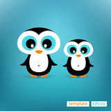 Cute penguins family Mother and Child Illustration standing at clear background. Stock Photography