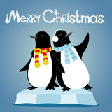Cute penguins on an ice floe. Cute penguins on the ice floe on a blue background Stock Photo