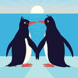 Cute penguins in love. Family of birds holding their wings and looking at each other. Colorful vector illustration in Stock Photo