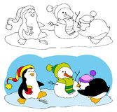 Cute penguins making a snowman Stock Photos