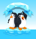 Cute penguins standing on ice Royalty Free Stock Photography
