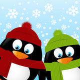 Cute penguins on winter background Royalty Free Stock Photo