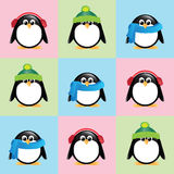 Cute penguins in winter wear. A seamless background of cute cartoon penguins, wearing winter hats, scarves and earmuffs, on colourful checkered background Royalty Free Stock Photos