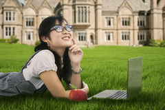 Cute pensive student Stock Images