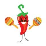 Cute pepper plays maracas vector illustration Stock Image