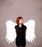 Cute person with angel illustrated wings Stock Photos