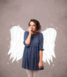 Cute person with angel illustrated wings Stock Photography