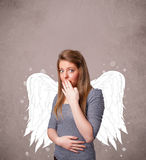 Cute person with angel illustrated wings Stock Images