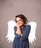 Cute person with angel illustrated wings Royalty Free Stock Photo