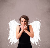 Cute person with angel illustrated wings Stock Image