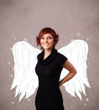 Cute person with angel illustrated wings Royalty Free Stock Image