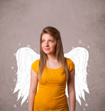 Cute person with angel illustrated wings Royalty Free Stock Images