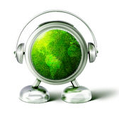 Cute peson with green planet inside Stock Photos