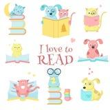 Cute pet animals reading books vector icon set vector illustration