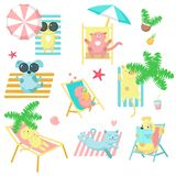 Cute pet animals taking rest on beach vector icons stock illustration