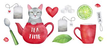 `Tea Time` Watercolor Set. Cute pet character in teapot, sugar, candies, lemon, dessert spoon, teabags, love heart, teacup, paper label `Drink Me`. Hand drawn Stock Photo