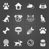 Cute pet icons on black. Vector Stock Photography