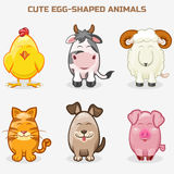 Cute pets animals in one set, simple egg-shaped Stock Photography