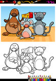 Cute pets cartoon coloring book Stock Photos