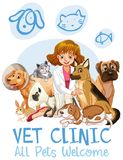 Cute Pets Clinic  Welcome Sign. Illustration Royalty Free Stock Photography