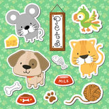 Cute Pets Scrapbook Stickers Royalty Free Stock Photo