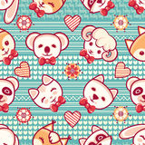 Cute pets. Seamless pattern. Colorful background with characters.  Stock Image