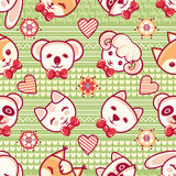 Cute pets. Seamless pattern. Colorful background with characters.  Royalty Free Stock Photos