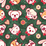 Cute pets. Seamless pattern. Colorful background with characters.  Royalty Free Stock Photo
