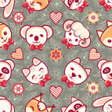 Cute pets. Seamless pattern. Colorful background with characters.  Royalty Free Stock Image