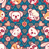 Cute pets. Seamless pattern. Colorful background with characters.  Royalty Free Stock Photography