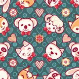 Cute pets. Seamless pattern. Colorful background with characters. Cute little animals. Seamless pattern. Colorful background with characters - Panda, lamb, cat Stock Image