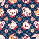 Cute pets. Seamless pattern. Colorful background with characters. Cute little animals. Seamless pattern. Colorful background with characters - Panda, lamb, cat Royalty Free Stock Photo