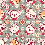 Cute pets. Seamless pattern. Colorful background with characters. Cute little animals. Seamless pattern. Colorful background with characters - Panda, lamb, cat Stock Photography